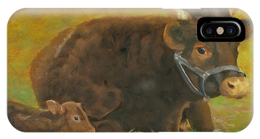 Cow Calf Bull Farmscene IPhone X / XS Case featuring the painting Proud Pappa by Paula Emery