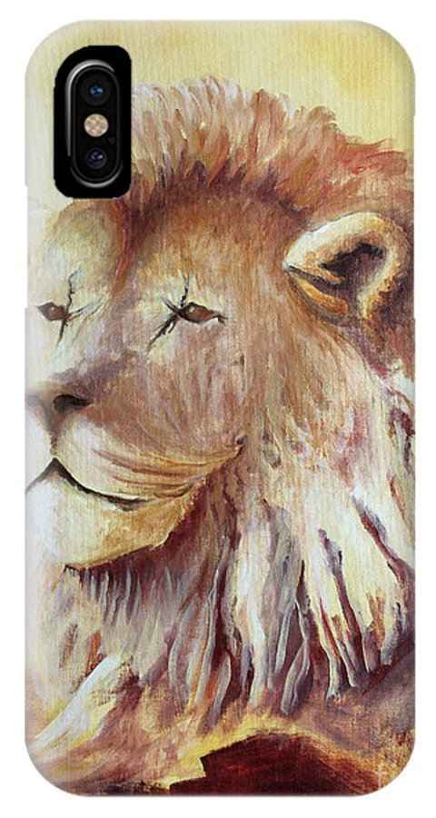 Animal IPhone X Case featuring the painting Proud by Todd Blanchard
