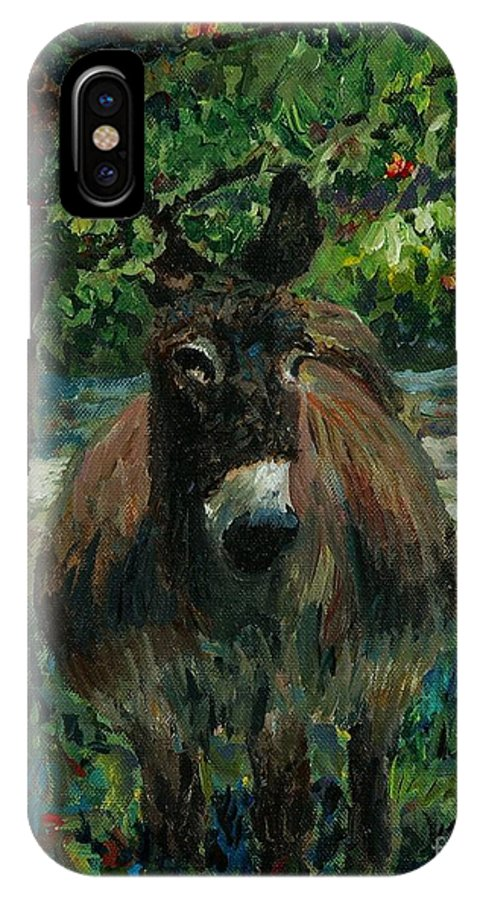Donkey IPhone X Case featuring the painting Provence Donkey by Nadine Rippelmeyer