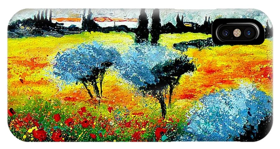 Poppies IPhone X Case featuring the painting Provence by Pol Ledent