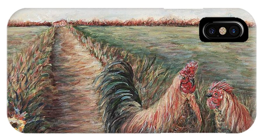 Provence IPhone X Case featuring the painting Provence Roosters by Nadine Rippelmeyer