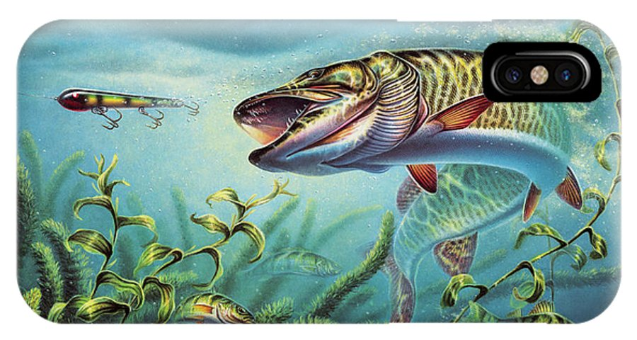 Muskie IPhone X Case featuring the painting Provoked Musky by JQ Licensing