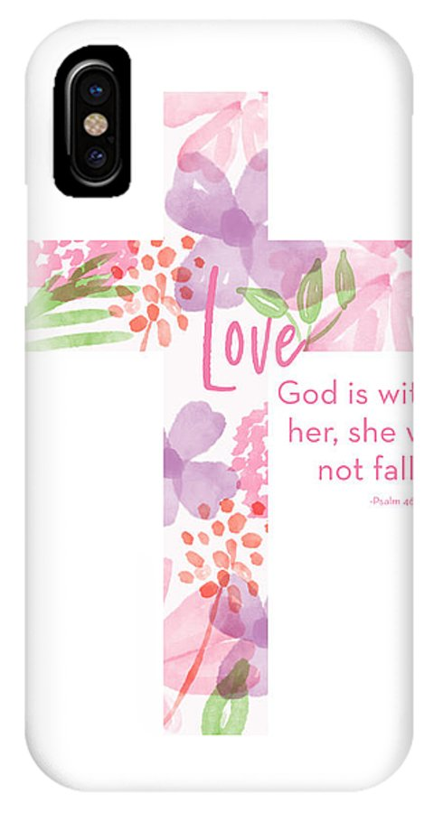 Cross IPhone X Case featuring the mixed media Psalm 46 5 Cross- Art By Linda Woods by Linda Woods
