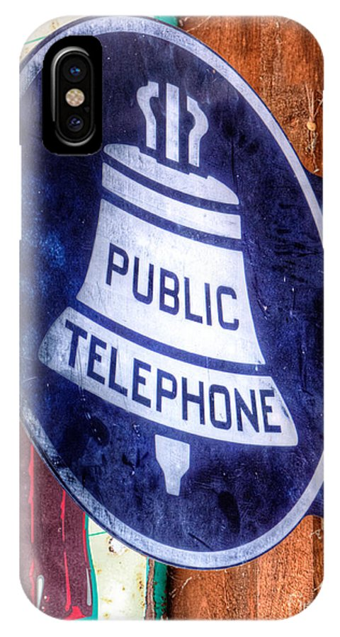 Antique IPhone X Case featuring the photograph Public Telephone Sign by Jerry Fornarotto