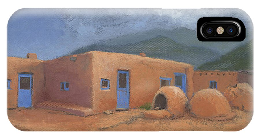 Taos IPhone X Case featuring the painting Puertas Azul by Jerry McElroy