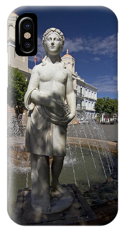 Puerto Rico IPhone X / XS Case featuring the photograph Puerto Rican Fountain In A Plaza Scene by Sven Brogren
