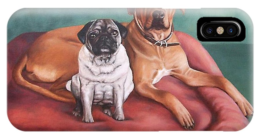 Dogs IPhone Case featuring the painting Pug And Rhodesian Ridgeback by Nicole Zeug