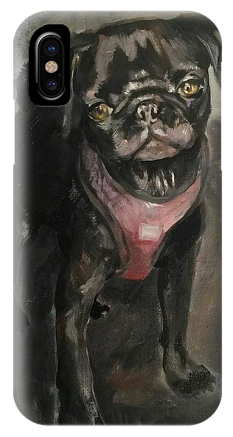 Black Pug IPhone X Case featuring the painting Pug Days by Tessa Moeller