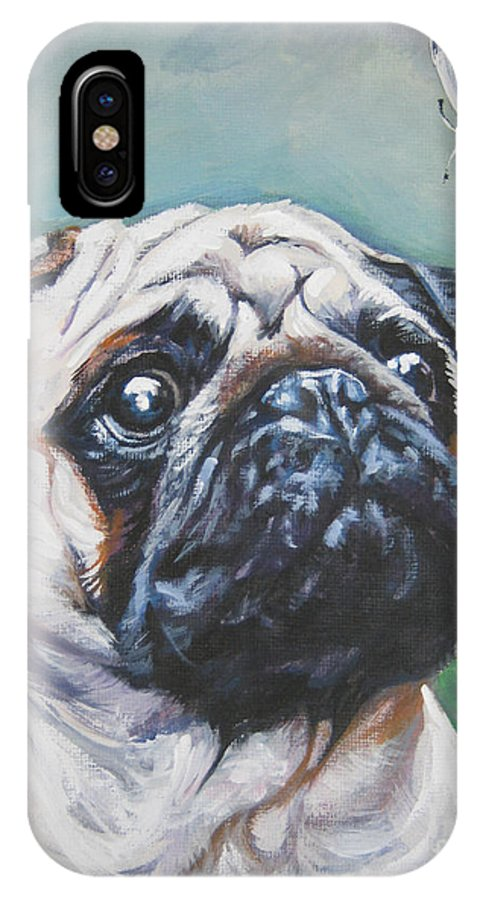 Pug IPhone X Case featuring the painting Pug With Butterfly by Lee Ann Shepard