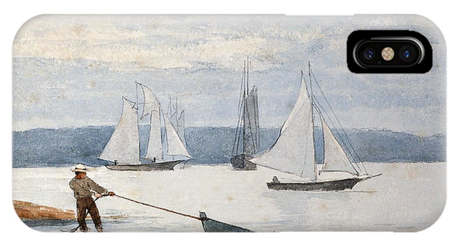 Man IPhone X Case featuring the painting Pulling The Dory by Winslow Homer