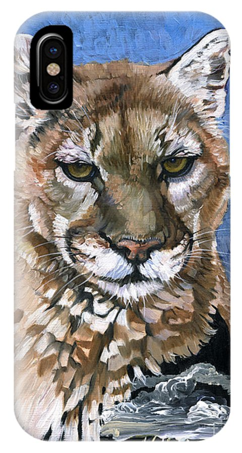 Puma IPhone X Case featuring the painting Puma - The Hunter by J W Baker