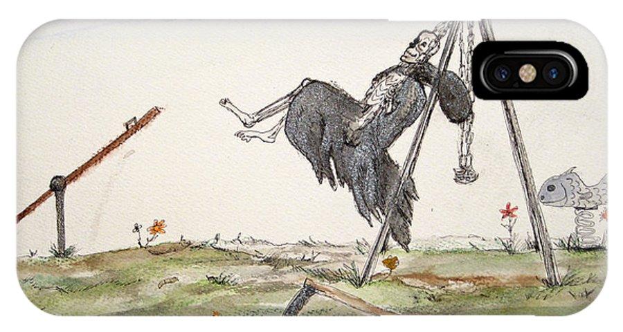 Darkestartist Death Humor Ink Playground Swing Watercolor Watercolour Darkest Artist Pump Harder Seesaw IPhone X Case featuring the painting Pump Harder Youll Get There by Darkest Artist
