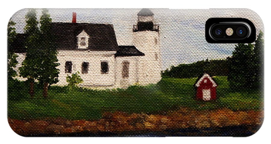 Landscape IPhone X Case featuring the painting Pumpkin Island Lighthouse by Timothy Smith
