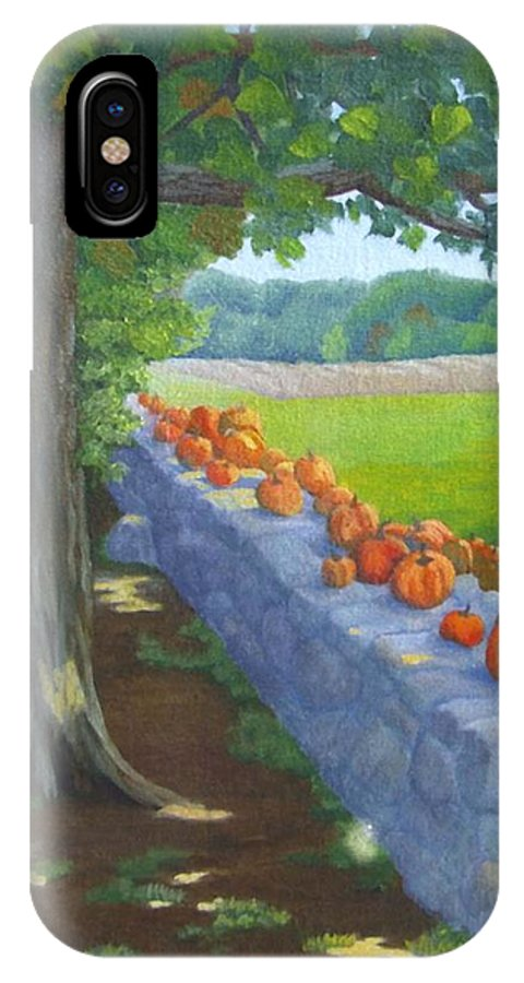 Pumpkins IPhone X / XS Case featuring the painting Pumpkin Muster by Sharon E Allen