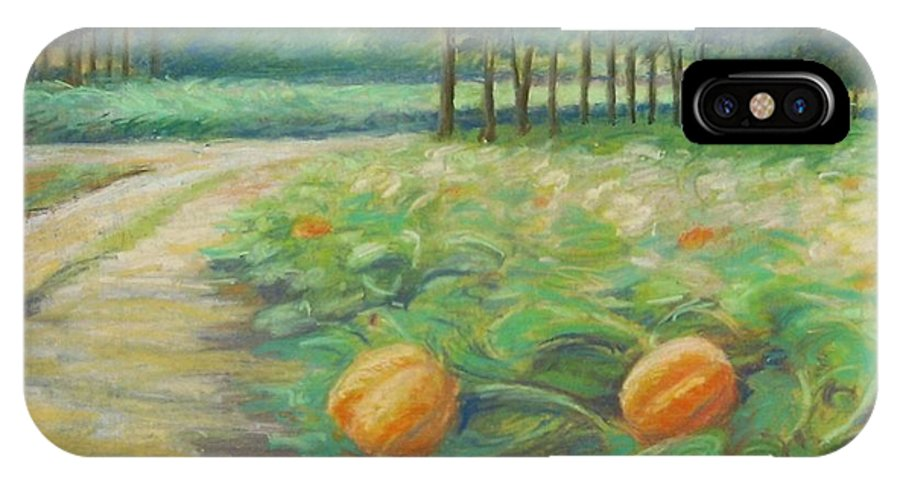 Alfred IPhone Case featuring the pastel Pumpkin Patch by Leslie Alfred McGrath