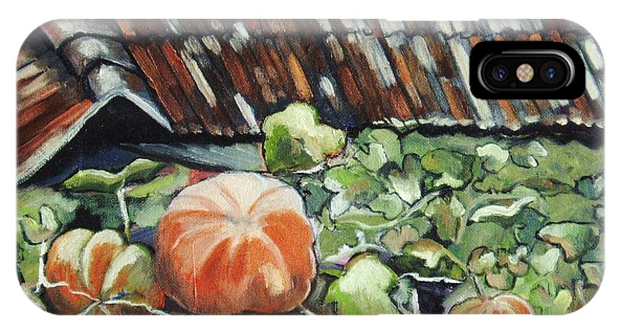 Pumpkin Paintings IPhone X / XS Case featuring the painting Pumpkins On Roof by Seon-Jeong Kim