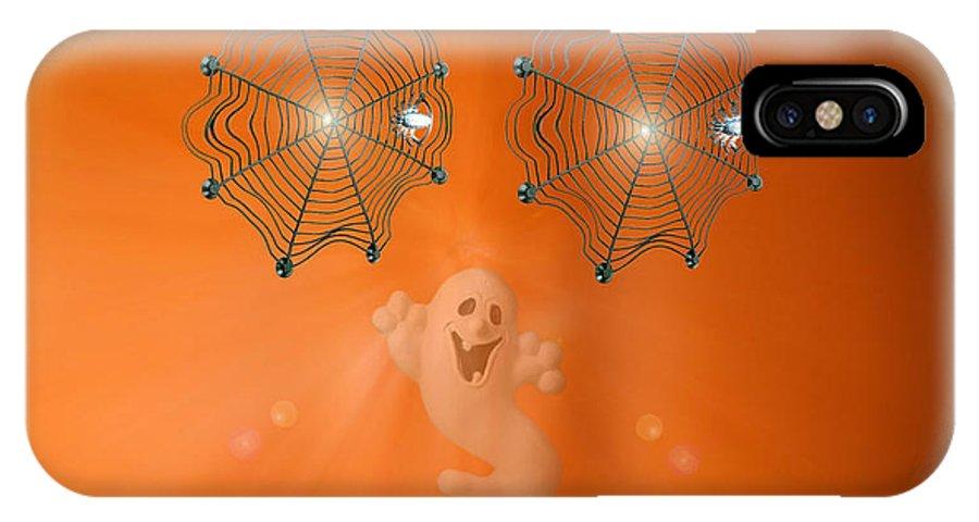 Halloween IPhone X / XS Case featuring the digital art Pumpkitsch by Linda Galok