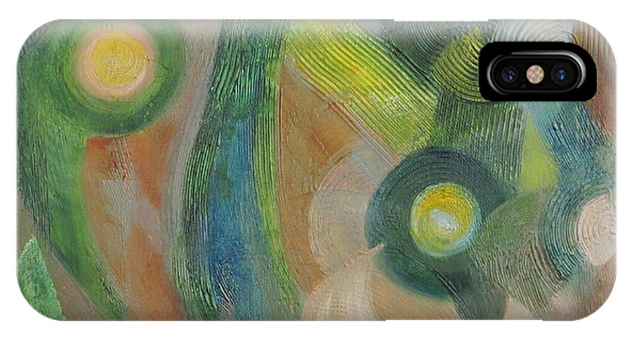Abstract IPhone X Case featuring the painting Punctuated by Martha Thompson