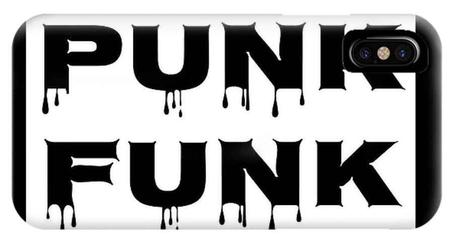 Punk IPhone X Case featuring the digital art Punk Funk - Black On White Background by LogCabinCottage