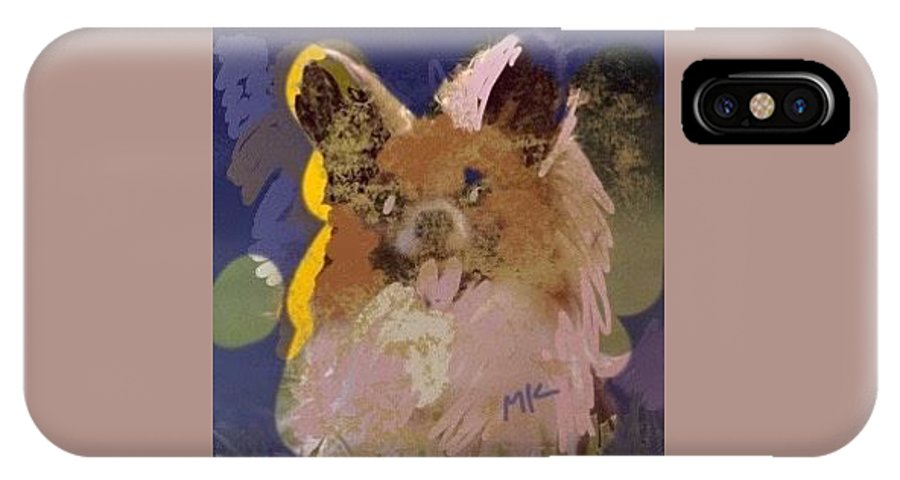 Dog IPhone X Case featuring the digital art Puppy by Mary Jo Hopton