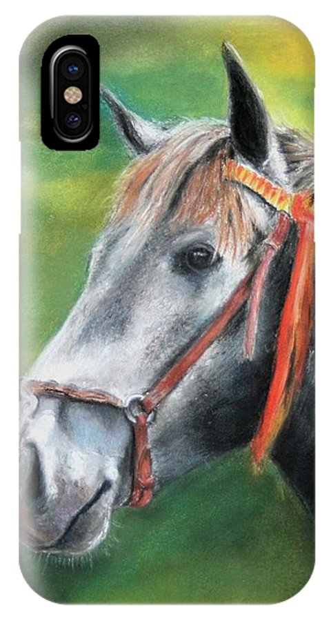 Horse IPhone X Case featuring the painting Pure Spanish by Ceci Watson