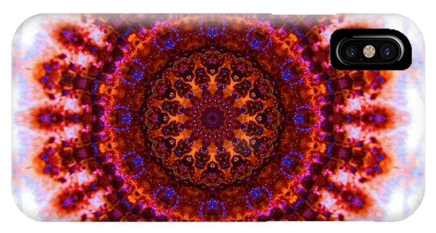 Kaleidoscope IPhone X Case featuring the photograph Purple And Gold Flower by Lori Kingston