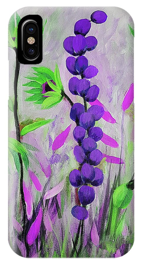 Acrylic IPhone X Case featuring the painting Purple And Green Flowers by Ruth Palmer