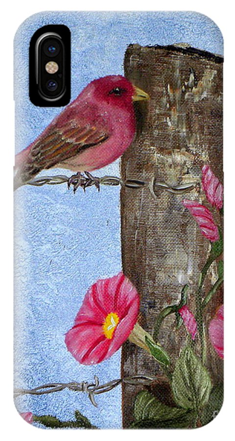 Bird IPhone X Case featuring the painting Purple Finch And Morning Glories by Terri Mills