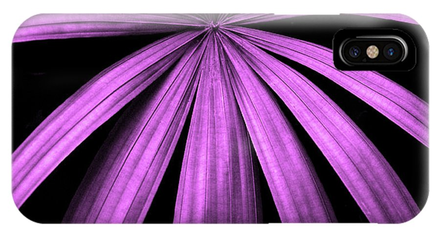 Palm Frond IPhone X Case featuring the photograph Purple Fireworks by Cathi Abbiss Crane