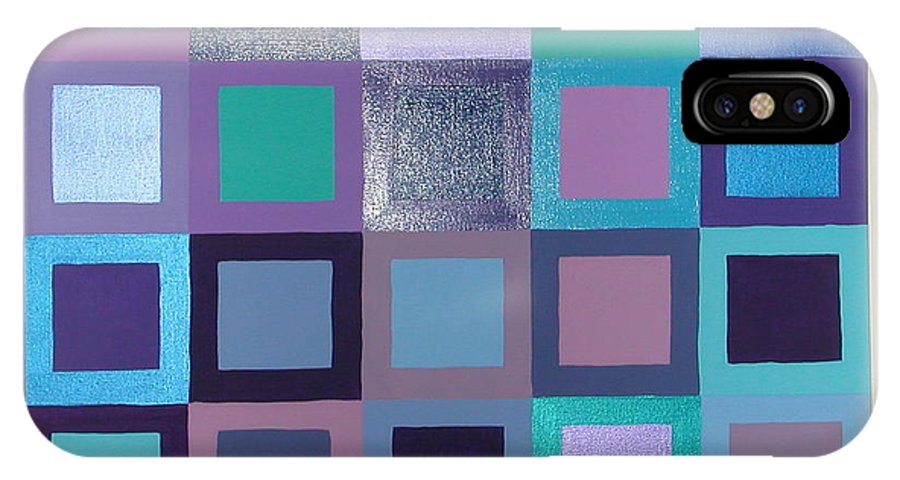 Squares IPhone X Case featuring the painting Purple Haze by Gay Dallek