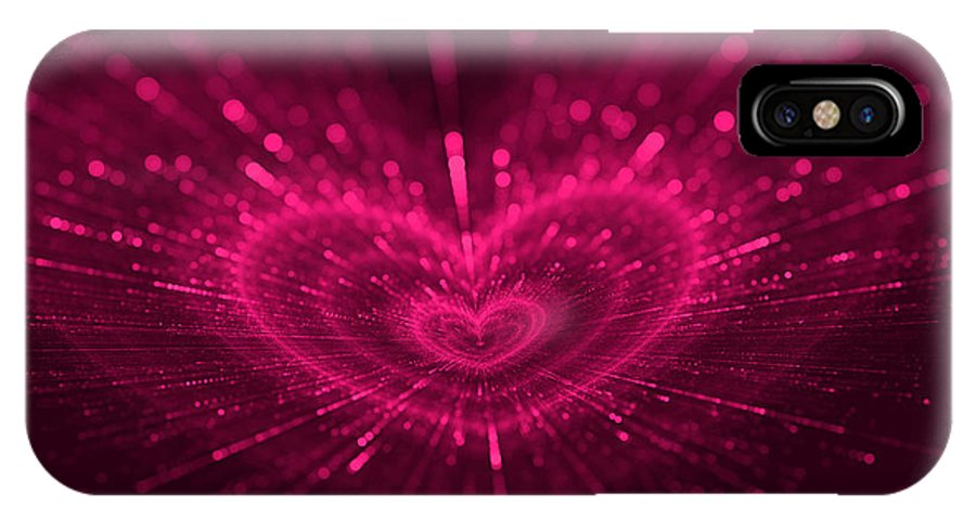 Romantic IPhone X Case featuring the digital art Purple Heart Valentine's Day by Anna Bliokh