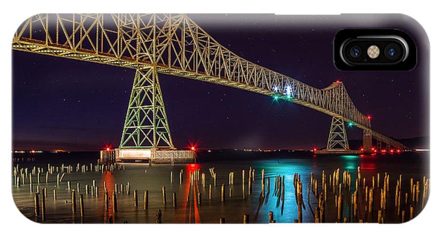 Astoria Bridge Oregon IPhone X / XS Case featuring the photograph Purple Hour At Astoria Bridge by Engin Tokaj