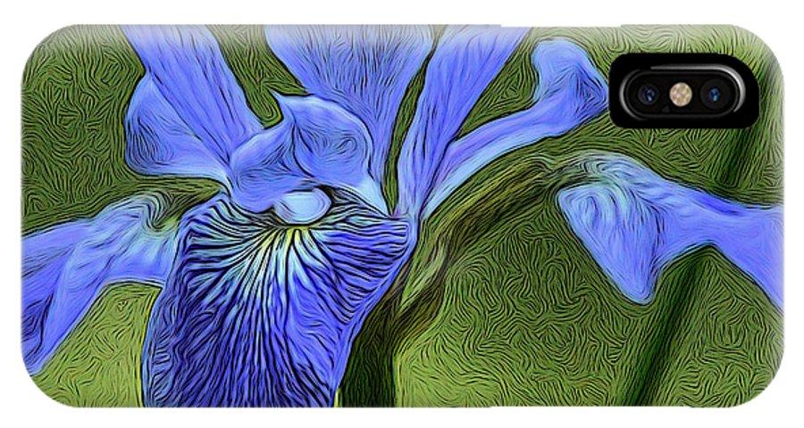 Iris IPhone X Case featuring the digital art Purple Iris by Lynellen Nielsen