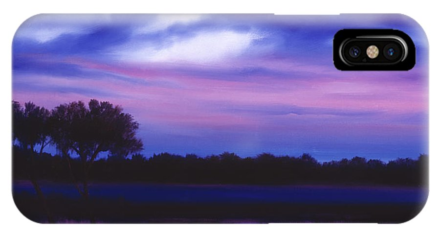 Sunrise IPhone X Case featuring the painting Purple Landscape Or Jean's Clearing by James Christopher Hill