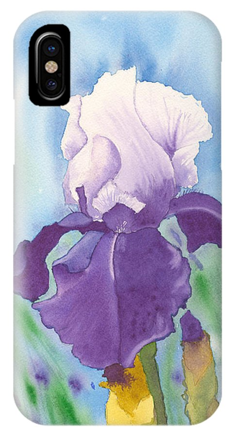 Iris IPhone X Case featuring the painting Purple by Louise Magno