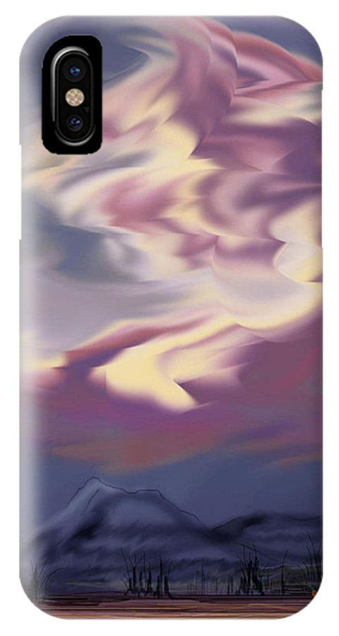 Clouds IPhone X Case featuring the painting Purple Mountain Majesty by Anne Norskog