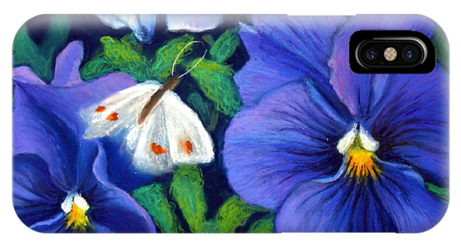 Pansy IPhone Case featuring the painting Purple Pansies And White Moth by Minaz Jantz