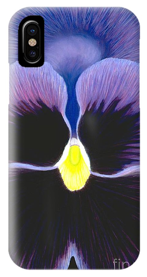 Pansy IPhone X Case featuring the painting Purple Pansy by Mary Erbert