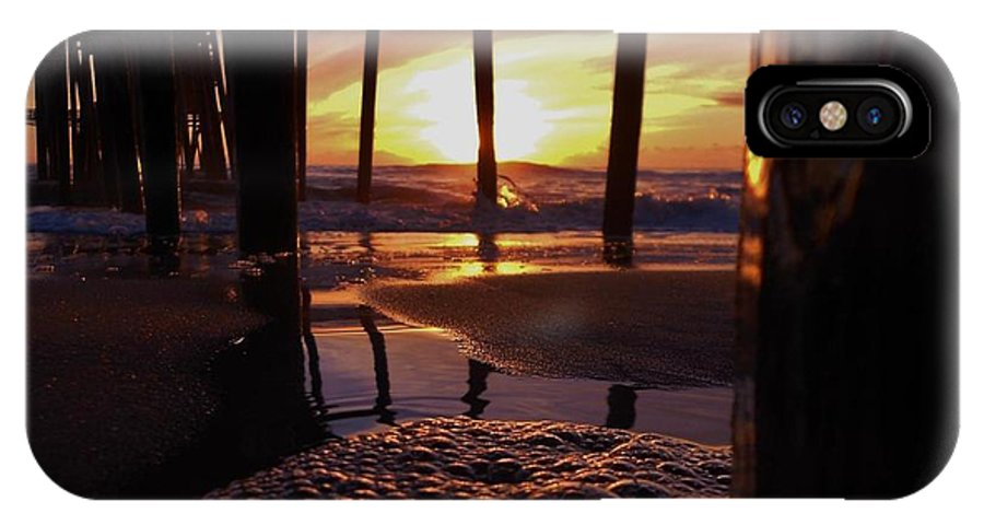 Mark Lemmon Cape Hatteras Nc The Outer Banks Photographer Subjects From Sunrise IPhone X Case featuring the photograph Purple Pier Perfection 2012 by Mark Lemmon
