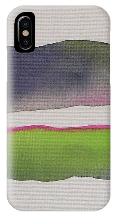 Abstract IPhone X Case featuring the painting Purple Rain by Vesna Antic