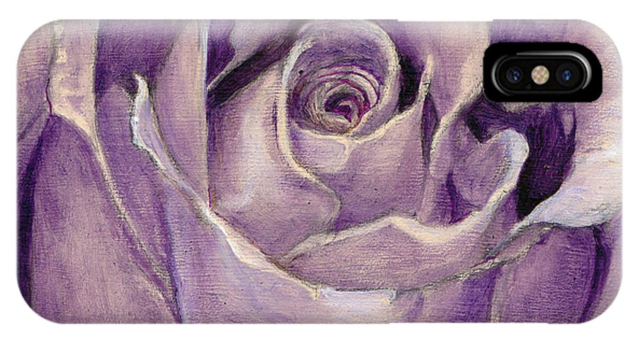 Rose IPhone X Case featuring the painting Purple Rose by Portraits By NC