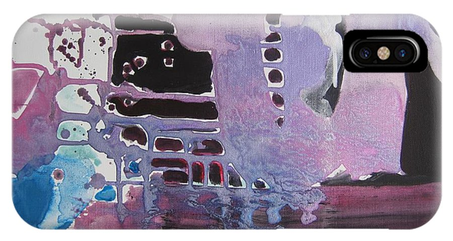 Abstract Paintings IPhone X Case featuring the painting Purple Seascape by Seon-Jeong Kim