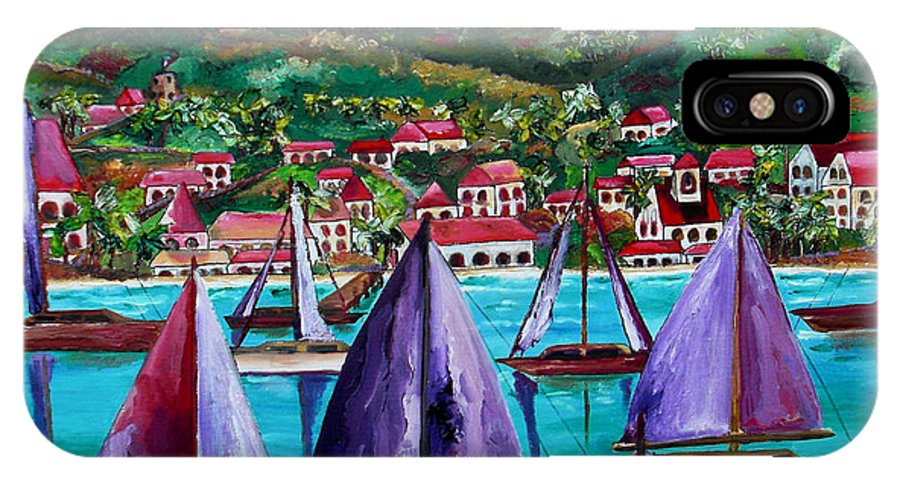 Usvi IPhone X Case featuring the painting Purple Skies Over St. John by Patti Schermerhorn
