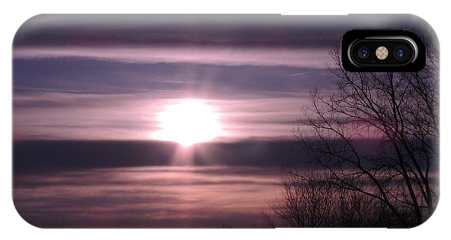 Sunrise IPhone X / XS Case featuring the photograph Purple Sunrise by Teresa Schomig