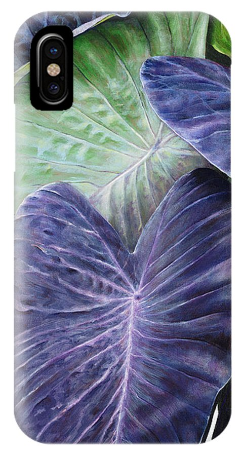 Acrylic IPhone X Case featuring the painting Purple Taro by Sandra Blazel - Printscapes