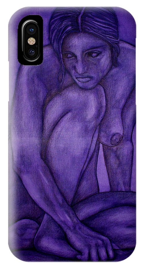 Nude Women IPhone X Case featuring the painting Purple by Thomas Valentine