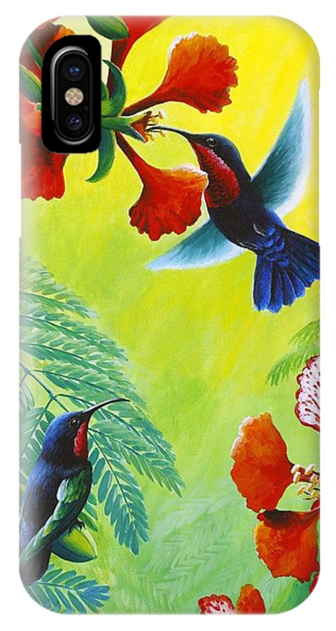 Chris Cox IPhone X Case featuring the painting Purple-throated Caribs and Flamboyant by Christopher Cox