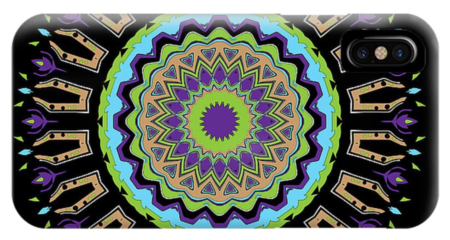 Digital IPhone X Case featuring the digital art Purple Tulips Mandala by Joy McKenzie