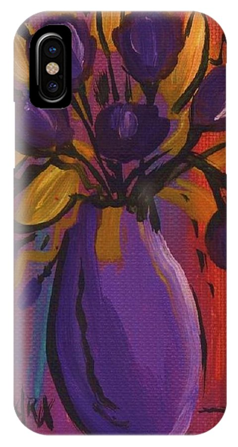 Tulips IPhone X Case featuring the painting Purple Tulips by Sidra Myers