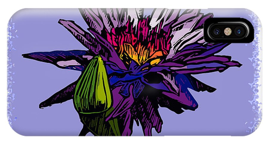 Water Lily IPhone X Case featuring the drawing Purple Water Lily by John Lautermilch